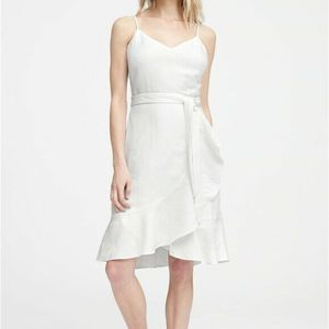 Banana Republic Linen Ruffle Wrap Dress